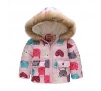Демисезонная куртка для девочки Мордочки зверьков, Pink