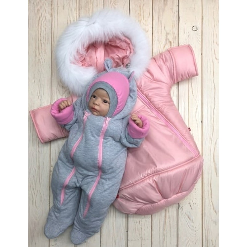 Зимний комплект с комбинезоном девочке