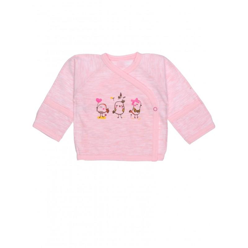фото Распашонка детская для девочки птички розовая