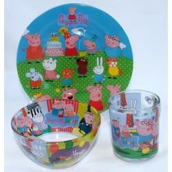 Посуда детская Интерос PEPPA PIG стеклянная подарочный набор 3ка
