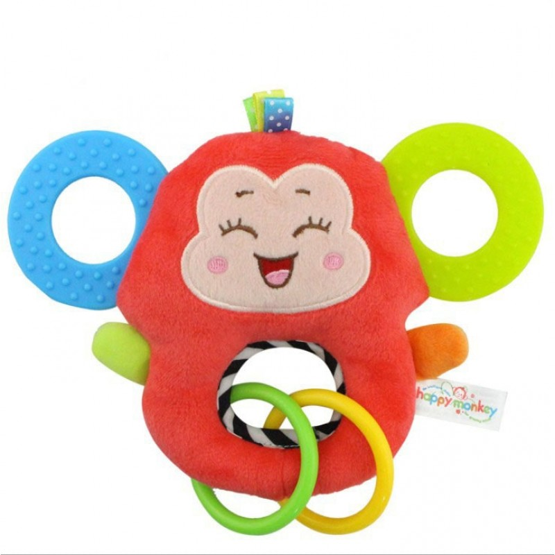 Мягкая игрушка - прорезыватель Счастливая обезьянка