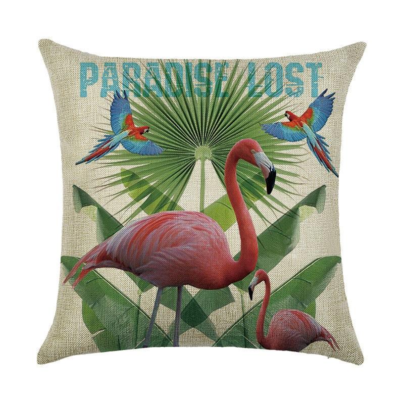 Подушка декоративная Фламинго и попугаи