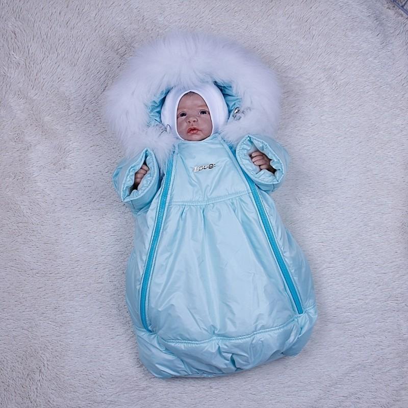фото детский зимний комбинезон-мешок ментол