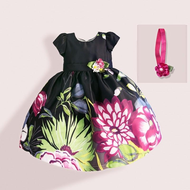 Платье для девочки с повязкой Георгины