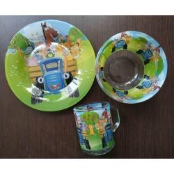 Посуда детская Синий трактор подарочный набор 3 предмета Интерос