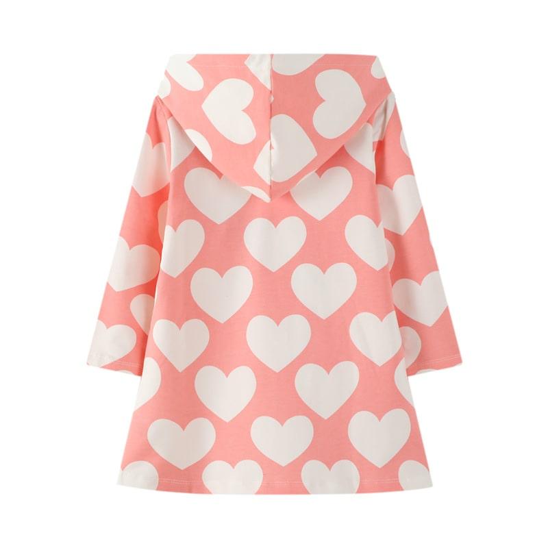 Платье для девочки с капюшоном White hearts