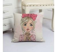 Наволочка декоративная Girl with coffee 45 х 45 см