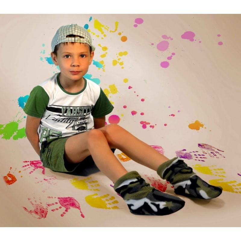 фото детские комнатные тапочки для мальчика Хаки