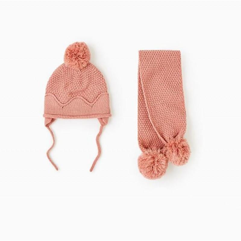 Шапка + шарф для девочки зимняя вязаная