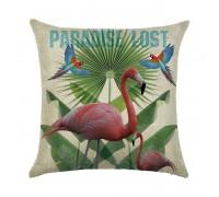 Подушка декоративная Фламинго и попугаи 45 х 45 см