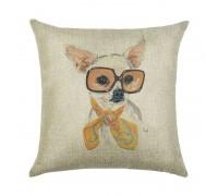 Наволочка декоративная Собака в очках 45 х 45 см