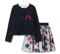 Комплект для девочки 3 в 1 Модница, синий