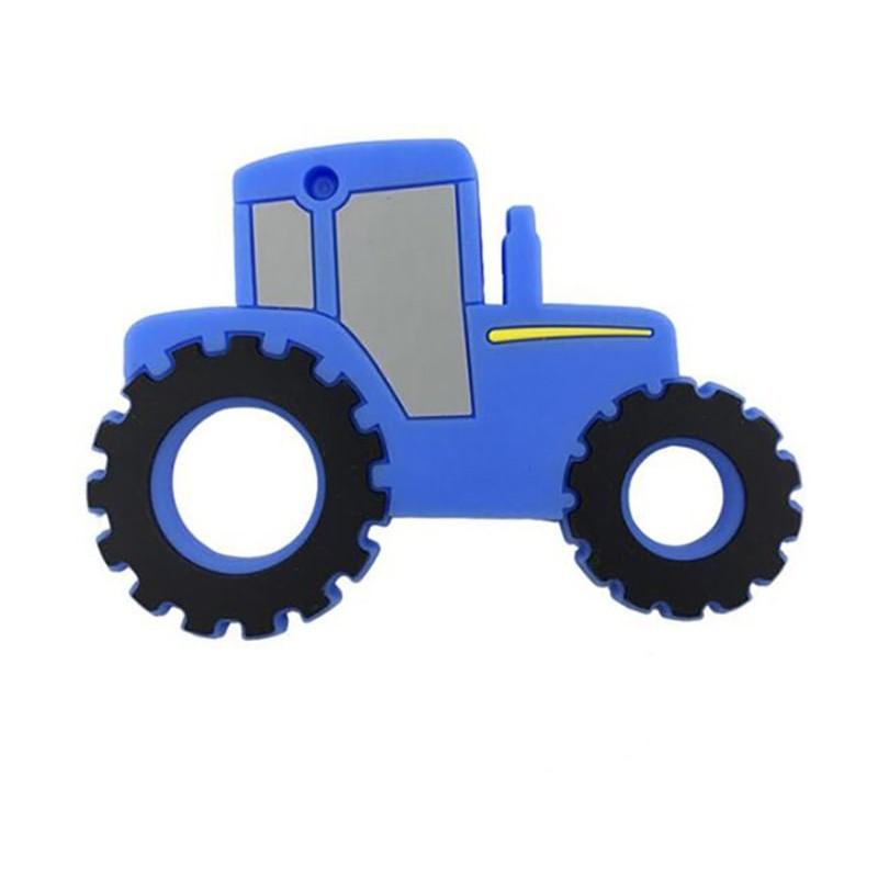 Прорезыватель Трактор мальчику синий