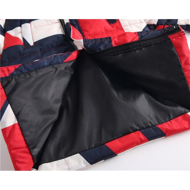 Куртка-пуховик детская Геометрия, красный