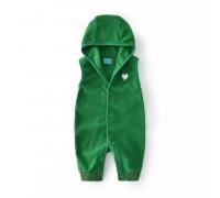 Комбинезон детский флисовый утеплённый Маленькое сердечко, зелёный