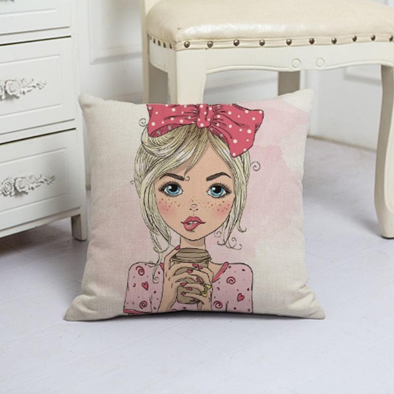 Наволочка декоративная Girl with coffee