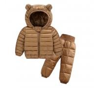 Комплект демисезонный (куртка + штаны) детский, Ушки, коричневый