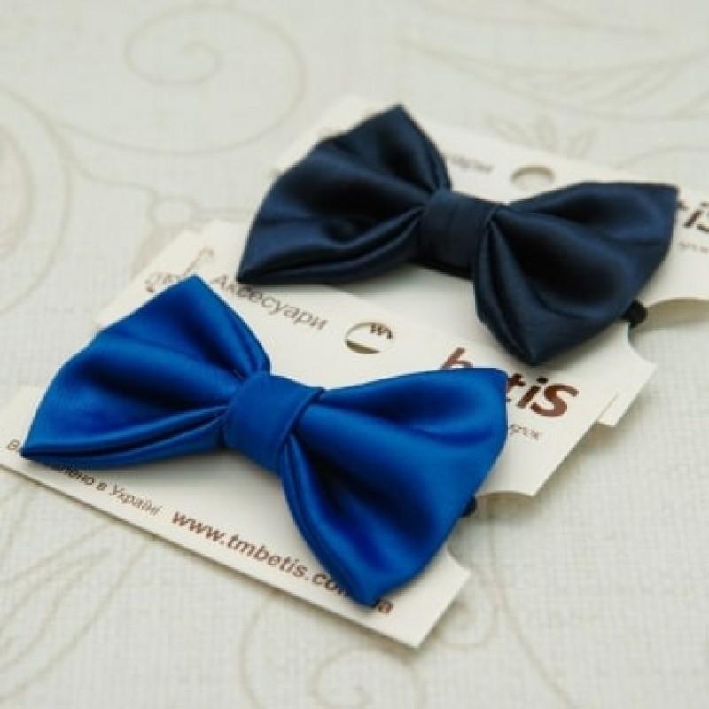 Детский галстук бабочка синий