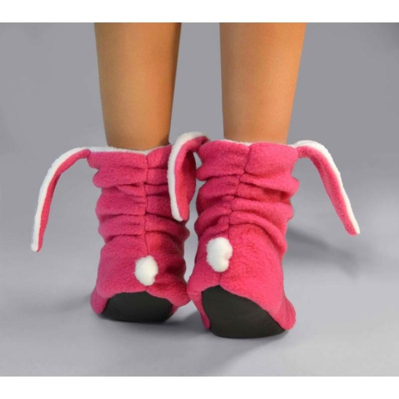 фото детские комнатные тапочки Зайчик розовые