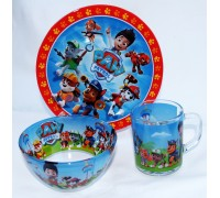 Посуда детская Интерос PAW PATROL стеклянная подарочный набор 3ка