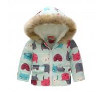 Демисезонная куртка для девочки Мордочки зверьков