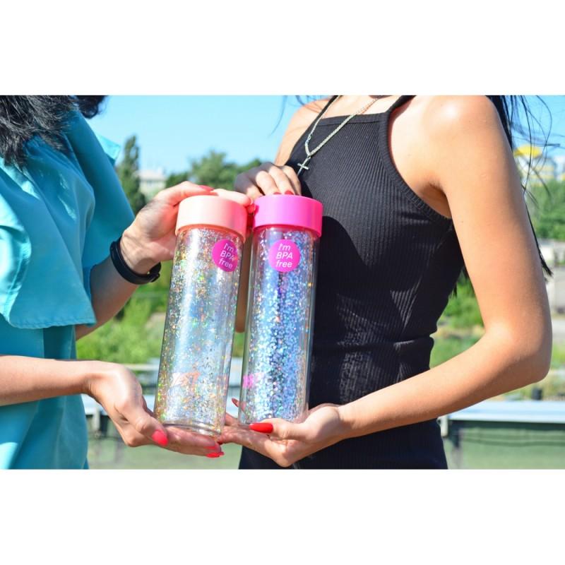Бутылка для воды YES с блестками фото