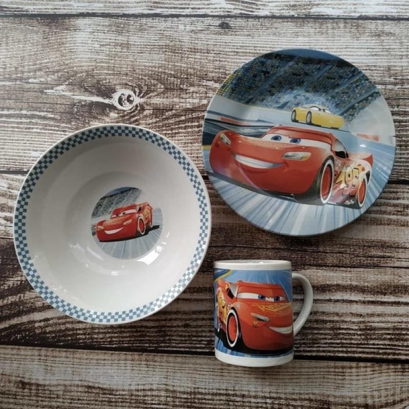 фото Набор детской посуды тачки