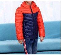 Куртка весенняя детская, оранжевый-синий