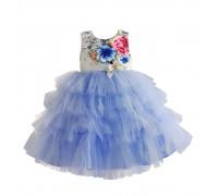 Платье для девочки Цветочные бутоны, голубой