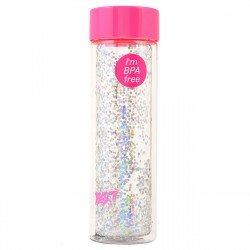 """Бутылка для воды YES с блестками """"Sparkle"""", 570мл, крышка розового цвета"""